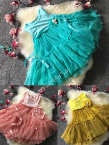 Girls Infant Net Party Princess Cute Tutu Dress Bear Brooch 3 Colours UK On Sale