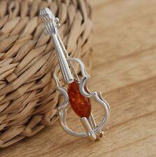Baltischen Bernstein 925 Sterling Silber Violine Musik Instrument Brosche Pin Schmuck