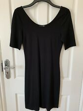 H&M Knee Length Short Sleeve Black Bodycon Dress Size 38