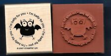 BAT BATTY FOR YOU Postage Seal NEW Stampin' Up! Halloween wood RUBBER STAMP