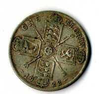 Moneda Gran Bretaña 1922 Jorge V 1 florin británico plata .500 silver coin