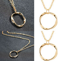 Womens Circle Ring Pendant Gold Necklace Choker Chain Party Charm Jewelry NEW