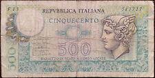 Italy banknote - 500 cinquecento lire - 1976 - head of Mercury - free shipping