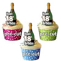 18th Birthday Champagne Bottles - Precut Edible Cupcake Toppers Cake Decorations