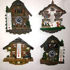 Set of 4 Swiss Cottage Fridge Magnets Thermometers