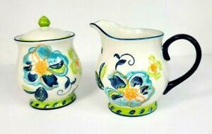 Dutch Wax Sugar Bowl with Lid and Creamer Blue Floral Hand Painted