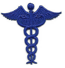 CADUCEUS, ROYAL BLUE - MEDICAL- PROFESSION/ Iron On Embroidered Applique Patch