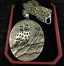 78B8-7 Vintage Carved Owl Alloy Plated With Silver Necklace Jewelry Z120907