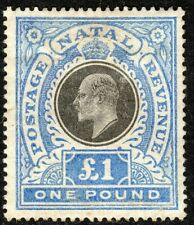 South Africa Natal 1902 black/blue £1 crown CC mint SG142