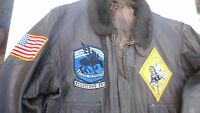 US Navy G-1 Leather Flight Jacket Approx Size 42 Vietnam Era Fighting 143 Ghost
