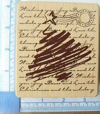 Inkadinkado Christmas Tree & fond en bois monté rubber stamp