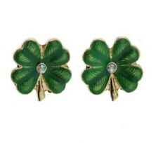 GREEN FOUR LEAF CLOVER ENAMEL LUCKY IRISH STUD EARRINGS 15MM