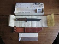 USMC KA-BAR 1217 US Marines Fighting Knife with Leather Sheath in Box 1980s USA
