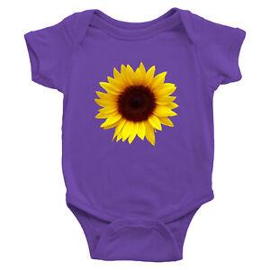 Yellow Sunflower Infant Baby Rib Bodysuit One Piece Baby shower Gift babysuit