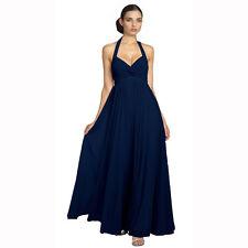 Beaded Halter Neck Full Length Formal Evening Gown Bridesmaid Dress Blue