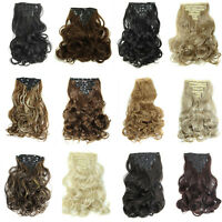 7 Pieces 100% Natural Women Clip in Hair Extensions  Long Full Head Curly Wavy