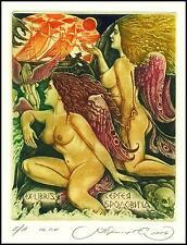 Kirnitskiy Sergey 2004 Exlibris C4 Mythology Odysseus and Sirens Erotic Sail 81