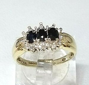 Genuine Sapphire & Diamond Cluster Ring 9ct yellow gold Hallmarked Sz L