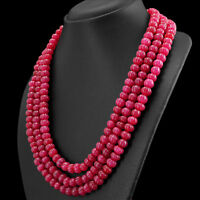 897.00 CTS EARTH MINED RICH RED RUBY 3 LINE ROUND SHAPE CARVED BEADS NECKLACE