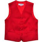 New Boy's Kid's tuxedo Vest Waistcoat only red US size 2-14 formal wedding