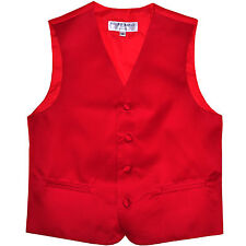 New Boy's Kid's tuxedo Vest Waistcoat only red US size 2-14 formal wedding