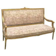 Antique Sofa, French Louis Xvi Style Giltwood Upholstered, 1800s, Charming!