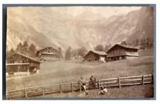 Suisse, Chalets dans les montagnes  Vintage albumen print.  Tirage albuminé