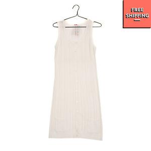 JEFF Knitted Vest Dress Size 1 Contrast Open Knit Sleeveless Scoop Neck