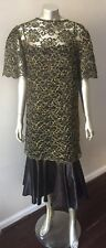 Lace Filigree Vintage 80s 2 Piece Retro Overlay Satin Gold Black Party Dress L