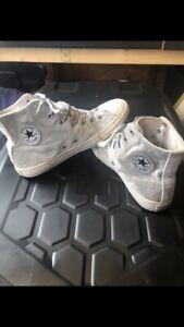 Grey/Silver Velvet High Top Converse Size 5