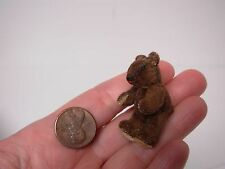OOAK ARTISAN DOLLHOUSE MINIATURE HAND STITCHED BROWN FELTED JOINTED TEDDY BEAR
