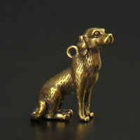 Antique Brass Dog Pendant Statue Old Chinese Zodiac Lucky Pocket Gift Ornament