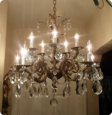Amazing Vintage Large Bronze 10 Arms Europe Cherubs Chandelier W Large Prisms