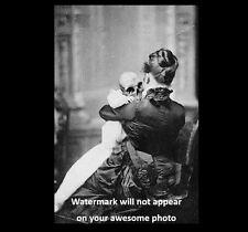 Scary Vintage Devil Baby Skeleton PHOTO Freak Skull Demon Child Mother