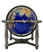 "14"" Blue Pearl Swirl Ocean 4- leg Silver table stand Gem Gemstone World globe"