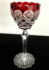 1 VAL ST LAMBERT RUBY RED CASED TO CLEAR  LEAD CRYSTAL WINE GOBLET LACE FOOT