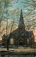 Lincoln Illinois~Budding Trees~Spring @ First Presbyterian Church~1910 Postcard