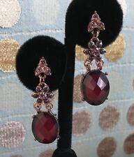 RETIRED 1928 LONG DANGLE ROSE GOLD EARRINGS Bright Copper Aus Crystal Rhinestone