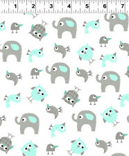 BRO.THER SIS.TER Aqua Animals Quilt Fabric by 1/2 Yard 2145-33 Clothworks