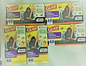 Lot Of 5 Glad Food Storage Bags Snack Size Zipper Bags Star Wars 200 Count