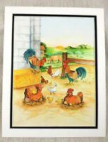 Original Malerei Bauernhof Tiere Hahn Huhn Henne Kinder Buch Illustration