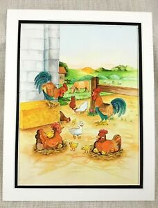 Original Painting Farm Animals Rooster Chicken Hens Children's Book Illustration