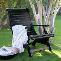 Teak Oiled Plantation Adirondack Outdoor Patio Deck Chair Black - New!