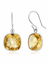 10.00 Ct 11mm Cushion Cut Yellow Citrine Sterling Silver Stud Dangle Earrings