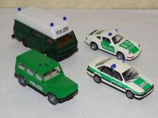 N°1 WIKING HERPA LOT DE 4 VEHICULES DE POLICE ALLEMANDE POLIZEI ECHELLE HO