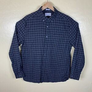 Lucky Brand Button Down Shirt Mens Large Black Check White Label Fit Flannel
