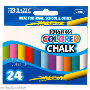 24PC Colored Chalk Assorted Drawing Colors