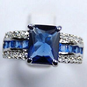 Genuine Blue Tourmaline Tanzanite Silver Ring size:7-9  AAA Grade