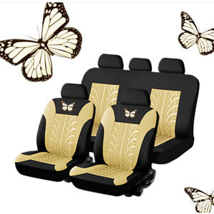 9 PCS Full Black/Beige Fabric Car Seat Covers Set For Interior Accessories