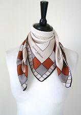 Pierre Balmain Vintage silk scarf - Brown / Beige Check 1970s - Small
